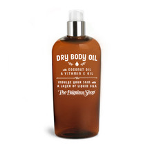 Dry Body Oil with Coconut Oil & Vitamin E Oil. Indulge your skin with the cleanest & most unique moisturizer you've ever used. Like a liquid talc, this light oil absorbs quickly leaving your skin smooth and silky. Price includes custom scenting with the fragrance of your choice.  Available in two or eight fluid ounce sizes (59 or 239 milliliters)