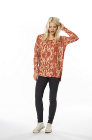 Flowy with signature nikita length this tee can be tucked in or out of her favorite bottoms.