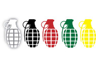 "Grenade 9"" Skeleton Hand Stickers"