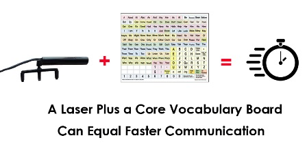 A laser pointer plus a core vocabulary board can lead to faster communication