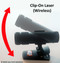 The laser is adjustable and can be pointed up, down and side to side.