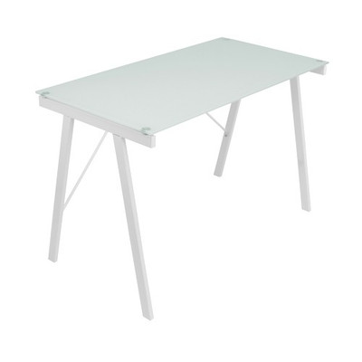 White Glass Top Office Desk