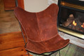 Rustic Brown Leather Butterfly Chair Cover