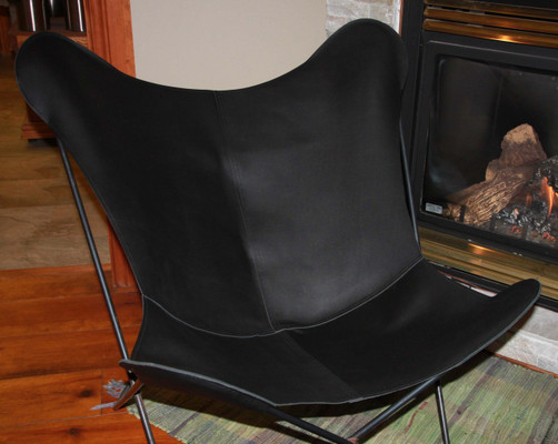 Premium Leather Butterfly Chair Cover In Black