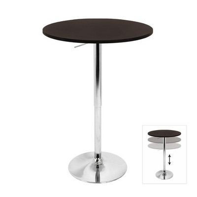 Adjustable bar table with brown wood top
