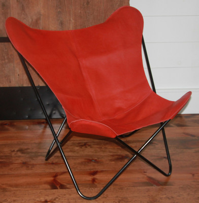 Leather Butterfly Chair Cover in Red