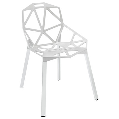 Contemporary Connections Dining Side Chair in White Aluminum