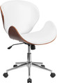 Mid-Back Natural Wood Swivel Conference Chair in White Leather