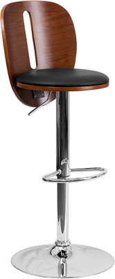 Adjustable Slot Walnut Bar Stool with Black Vinyl Seat