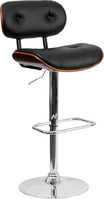 Adjustable Padded Tufted Wood Bar Stool with Black Vinyl Upholstery