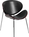 Mahogany Bentwood Mod Dining Chair with Black Leather Upholstery