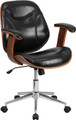 Mid-Back Black Leather Executive Wood Office Chair