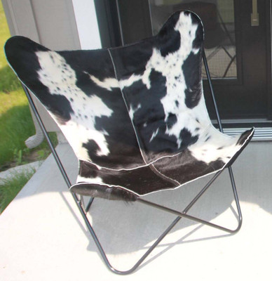 Premium Hair on Hide Leather Butterfly Chair Cover in Black and White