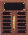 "10.5"" x 13"" (12 Plate) Walnut Finish Perpetual Plaque with Middle Decoration"