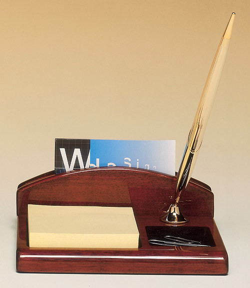 Rosewood Piano Finish Desk Organizer With Business Card Holder Pen