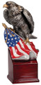 "American Eagle with Flag Hand Painted Resin 8.75"" Tall"