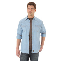 Wrangler Men's Retro Long Sleeve Shirt - Light Indigo