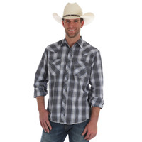 Wrangler Men's Fashion Snap Long Sleeve Shirt - Plaid