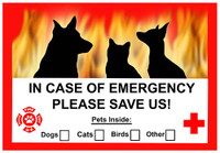 Emergency Save Pet Window Cling