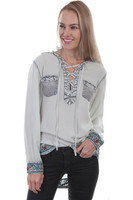 Scully Embroidered Lace Up Blouse