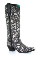 Corral Ladies Black Inlay and Stud Boot