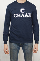 Chaar Long SleeveTee Shirt - Navy Unisex Crew Neck