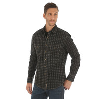 Wrangler Retro Long Sleeve Mens Shirt Black & Tan
