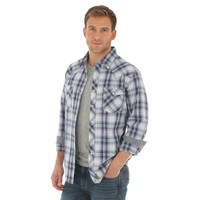 Wrangler Retro Long Sleeve Mens Shirt Blue & White