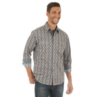 Wrangler Retro Mens Long Sleeve Shirt Grey & Orange