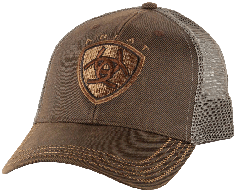 a84381c5f Ariat Brown Oilskin With Mesh Back Logo Velcro Back Cap