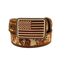 Ariat Youth Boys Patriot Brown Camo USA Flag Belt