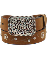 Ariat Girls Floral Embroidered Rhinestone Western Belt