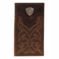 Ariat Brown With Brown Overlay Boot Stitch & Shield Checkbook/Rodeo Wallet