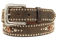 Nocona Womens Distressed Studded Copper Conchos Leather Belt