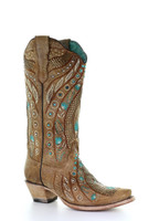 Corral Womens Golden Studs and Flowered Embroidery and Crystals