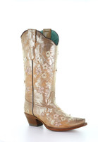 Golden Floral Embroidery Womens Western Boot