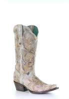 Corral Women's White Floral Embroidered Western Boot