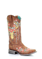 Tan Deer Skull Overlay & Floral Embroidered Womens Western Boot