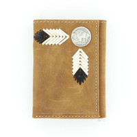 Nocona Leather Laced Buffalo Nickel Rodeo Wallet