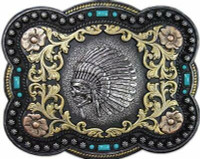 Nocona Mens Floral Native American Skull Belt Buckle