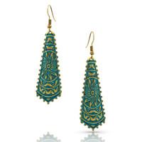 Copper Patina Sunburst Earrings