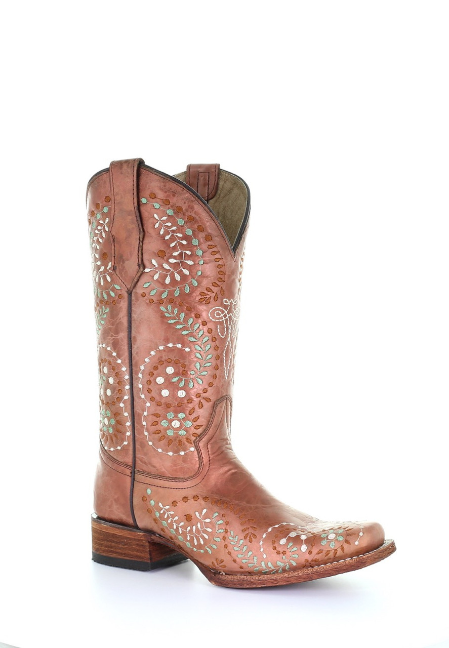 1316ea48b49 Circle G Women's Tan Embroidered Square Toe Western Boot