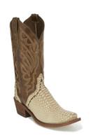 Khaki Snake Print Women's Square Toe Western Boot