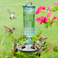 Antique Glass Bottle Hummingbird Feeder
