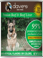 Dave's 95% Premium Beef and Beef Liver Dog Food 12.5oz