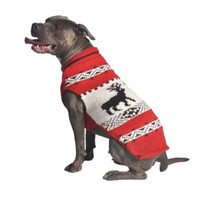 Red Reindeer Dog Shawl Sweater