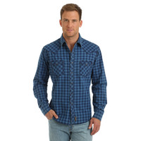 Wrangler Retro Premium Mens Blue Plaid Shirt