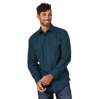 Wrangler Silver Edition Turquoise and Black Mens Shirt