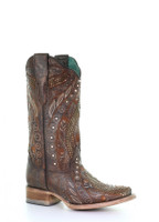 Corral Copper Floral Studded Women's Western Boot
