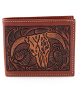 Steer Head Leather Men's Bifold Wallet